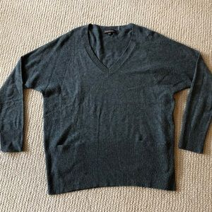 REPEAT slate blue wool/cashmere V neck sweater